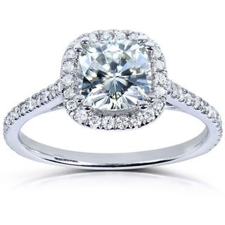 Annello by Kobelli 14k White Gold 1 1/3ct TGW Moissanite (FG) and Diamond (GH) Halo Engagement Ring