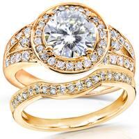 Annello by Kobelli 14k Yellow Gold 2ct TGW Moissanite (FG) and Diamond (GH) Halo Split Shank Bridal Rings Set