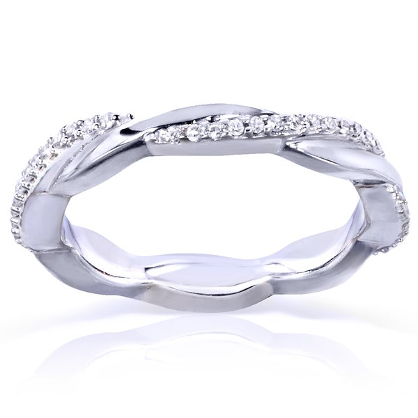 Annello by Kobelli 10k White Gold 1/6ct TDW Round Diamond Stackable Eternity Ring
