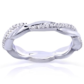 Annello by Kobelli 10k White Gold 1/6ct TDW Round Diamond Stackable Eternity Ring