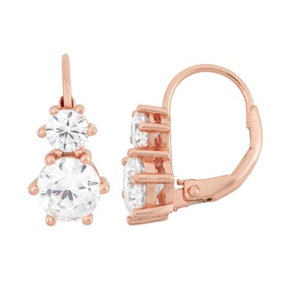 Gioelli Rose Goldplated Sterling Silver Round Cubic Zirconia Earrings