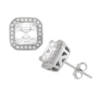 Gioelli Sterling Silver Asscher-cut Cubic Zirconia Earrings
