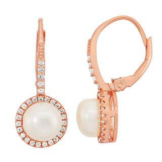Gioelli 14k Rose Goldplated Sterling Silver Freshwater Pearl Dangle Leverback Earrings (7-8mm)