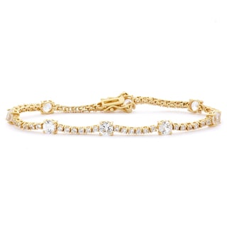 Gioelli 14k Gold plated Silver Created White Sapphire Gemstone Bracelet