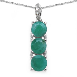 Malaika Sterling Silver 1 2/3ct Emerald and Diamond Accent Necklace
