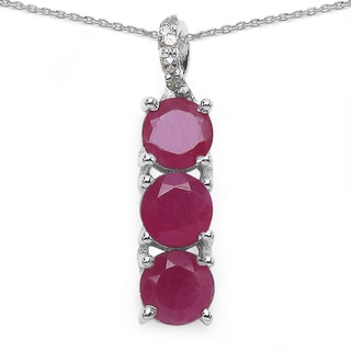 Malaika Sterling Silver 1 1/3ct Ruby and Diamond Accent Necklace
