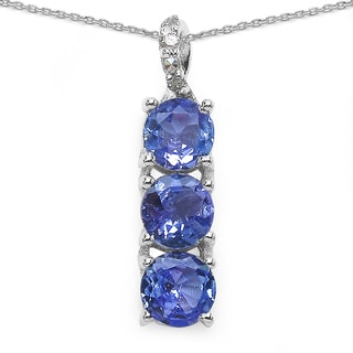 Malaika Sterling Silver 7/8ct Tanzanite and Diamond Accent Necklace
