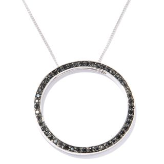 Sterling Silver 1ct Black Spinel Open Circle Necklace