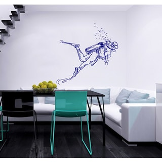 Scuba Diver Vinyl Sticker Wall Art