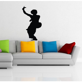 Hindu Indian Girl Dancing Silhouette Vinyl Sticker Wall Art