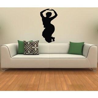 Indian Girl Dancing Woman Silhouette Vinyl Sticker Wall Art