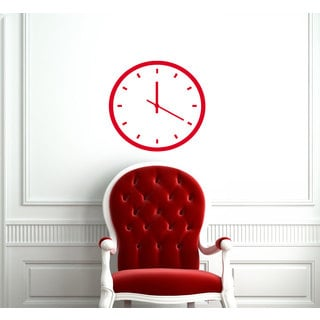 Red Fake Wall Clock Vinyl Sticker Wall Art