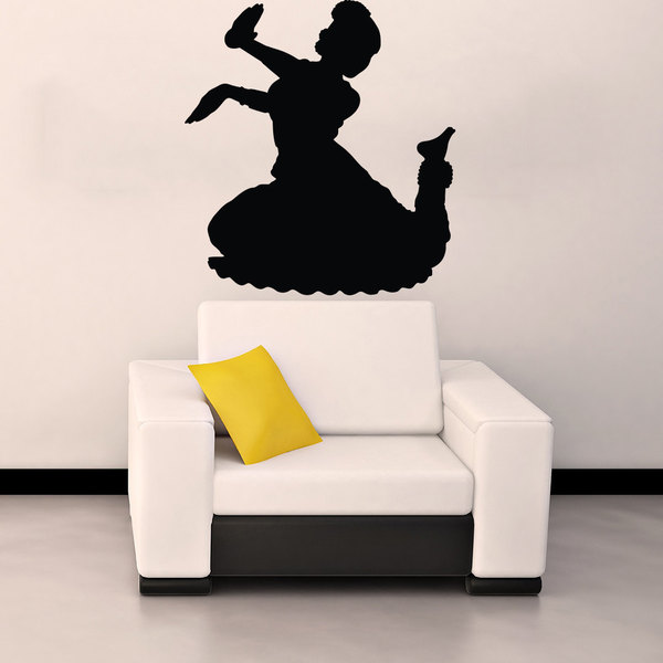Indian Hindu Girl Dancing Woman Silhouette Vinyl Sticker Wall Art