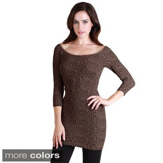 Nikibiki Women's Seamless Cheetah Print 3/4 Sleeve Dress