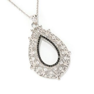 Sterling Silver White Topaz and Black Spinel Hollow Teardrop Necklace