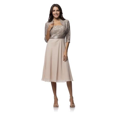 DFI Women's Spaghetti Strap Sequin Detail Bolero 2-piece Dress