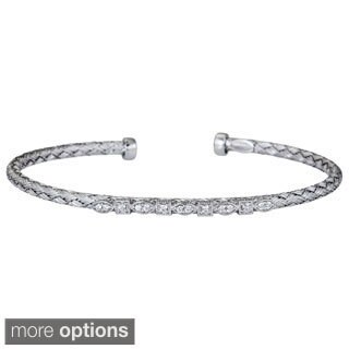 Decadence Sterling Silver Italian Cubic Zirconia Basketweave Bracelet (3 options available)