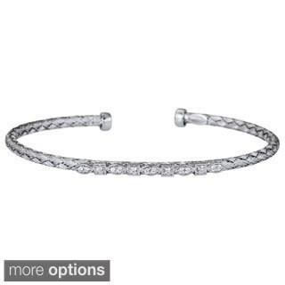 Decadence Sterling Silver Italian Cubic Zirconia Basketweave Bracelet