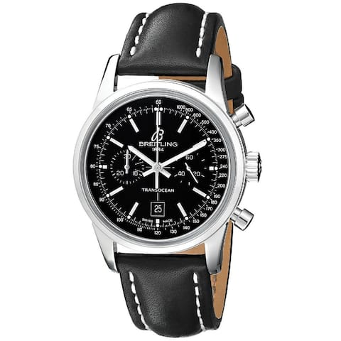 Breitling Men's A4131012-BC06LT 'Transocean 38' Automatic Chronograph Black Leather Watch