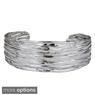 Decadence Sterling Silver Italian Rippled Wide Bracelet