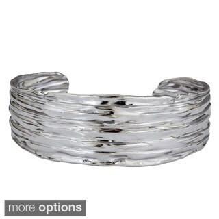 Decadence Sterling Silver Italian Rippled Wide Bracelet