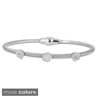 Decadence Sterling Silver Italian Rose Magnetic Mesh Bracelet