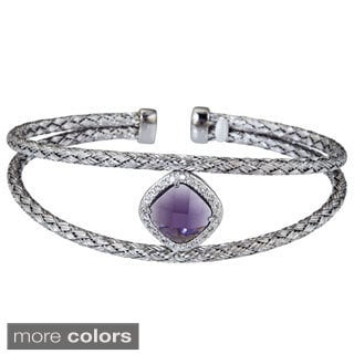 Decadence Sterling Silver Amethyst-color Center Cubic Zirconia Italian Woven Cuff