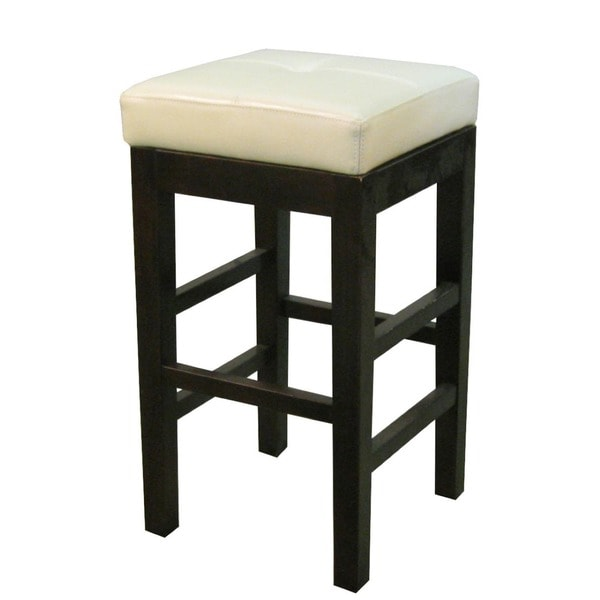 valencia backless leather and wood square bar stool free shipping today 17365262. Black Bedroom Furniture Sets. Home Design Ideas