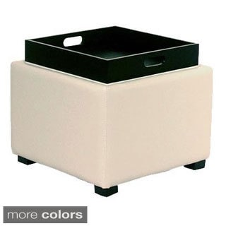 Cameron Square Leather Ottoman With Tray