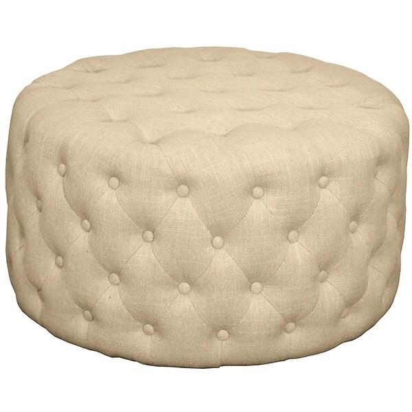 Shop Lulu Round Fabric Tufted Ottoman Free Shipping