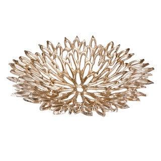 Aurelle Home Large Goldtone Open Flower Platter