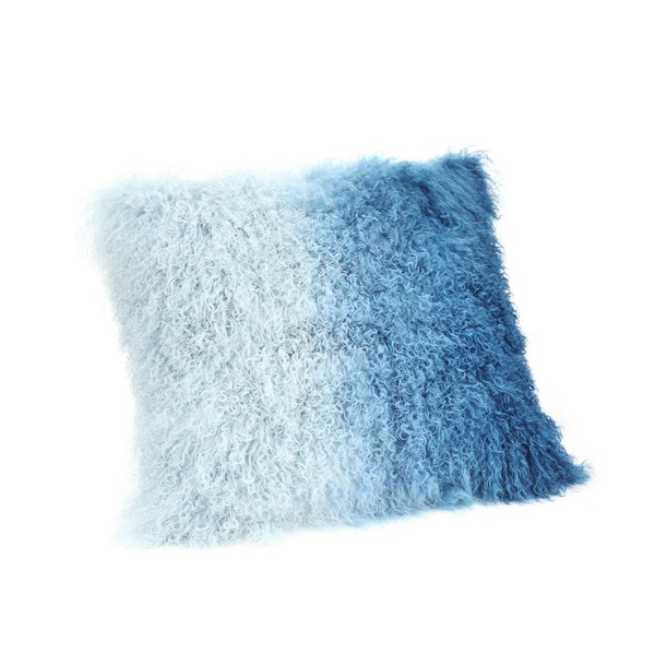 Aurelle Home Lamb Faux Fur Pillow Blue Spectrum 22 Inch