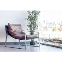 Aurelle Home Top Grain Rustic Leather Diego Accent Chair