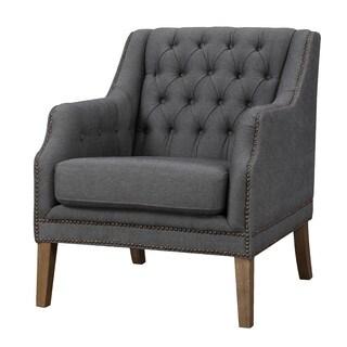 Aurelle Home Pope Grey Tufted Club Chair Grey