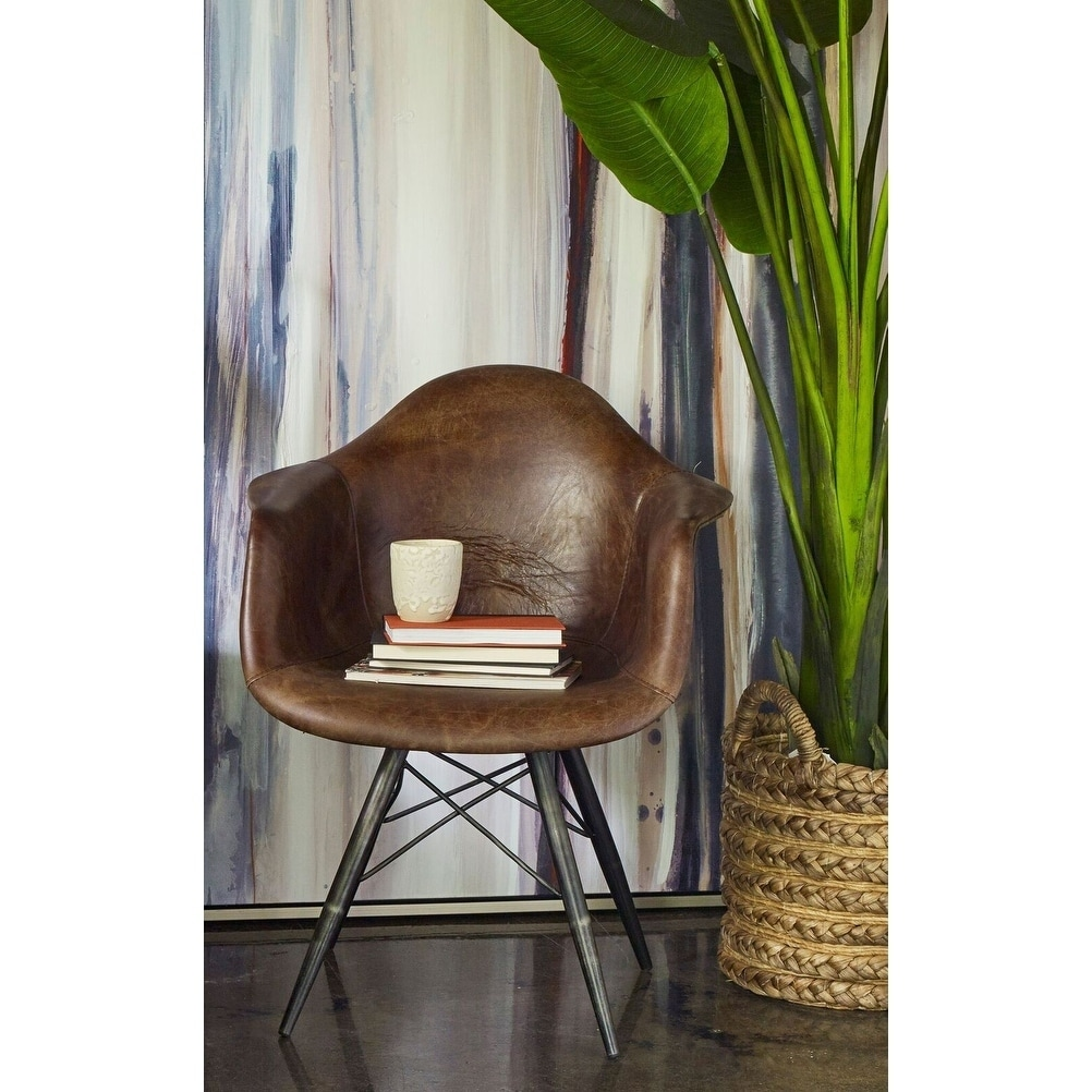 Aurelle Home Beat Mid Century Modern Rustic Leather Chair