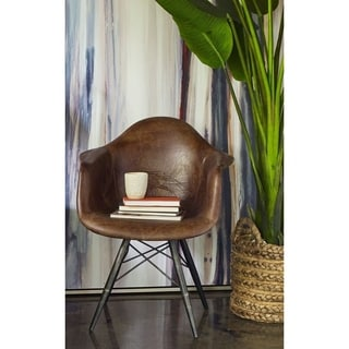 Aurelle Home Beat Mid Century Modern Distressed Rustic Leather Chair