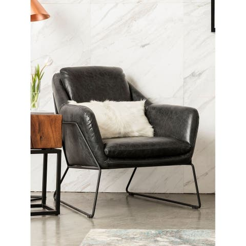 Aurelle Home Rudolph Black Leather Accent Chair