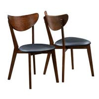 Peony Retro Dark Walnut Wood and Black Faux Leather Seat Dining Chairs (Set of 2)