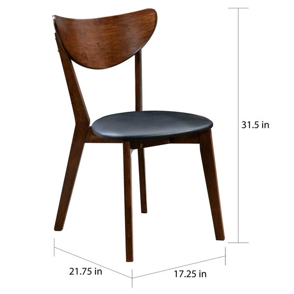 Peony Retro Dark Walnut And Black Seat Dining Chairs (Set Of 2)   Free  Shipping Today   Overstock.com   17365439
