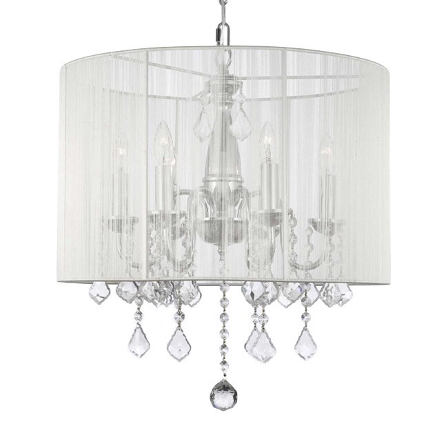 Gallery Swag Plug In Chandelier with Crystals and Large W...