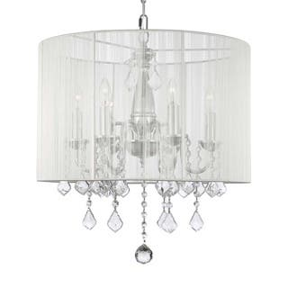 Swag Plug In Chandelier with Crystals and Large White Shade - 6 Lights|https://ak1.ostkcdn.com/images/products/10246617/P17365473.jpg?impolicy=medium