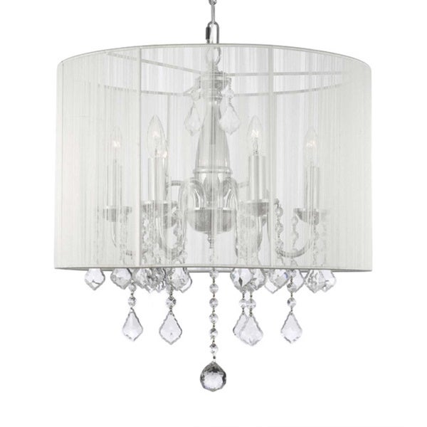 Swag Plug In Chandelier With Crystals And Large White Shade 6 Lights