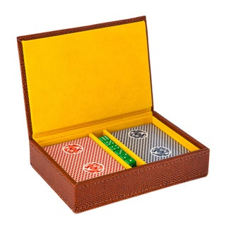 Travel Game Set with 2 Decks of Cards and Dice in Brown Lizard Leather Detail