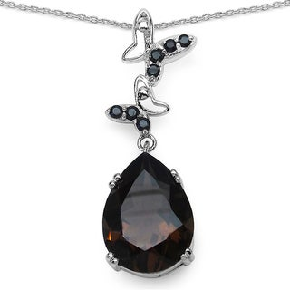 Malaika Sterling Silver 7 1/2ct Smoky Quartz and Black Spinel Necklace