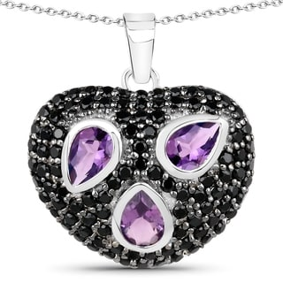 Malaika Sterling Silver 3ct Amethyst and Black Spinel Heart-shaped Necklace