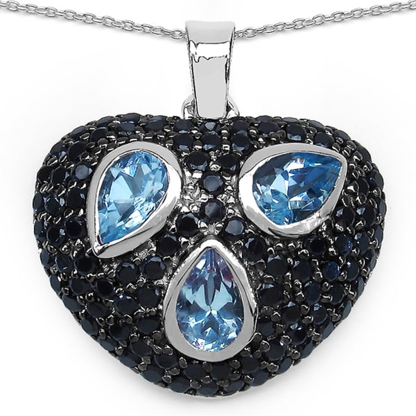 Malaika Sterling Silver 3 2/5ct Blue Topaz and Black Spinel Heart-shaped Necklace