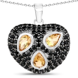 Olivia Leone Sterling Silver 3ct Citrine and Black Spinel Heart-shaped Necklace