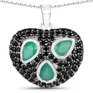 Malaika Sterling Silver 3 1/10ct Emerald and Black Spinel Heart-shaped Necklace