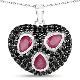 Malaika Sterling Silver 3 5/8ct Ruby and Black Spinel Heart-shaped Necklace