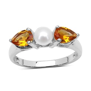 Malaika Sterling Silver 1 5/8ct Citrine and Pearl Ring